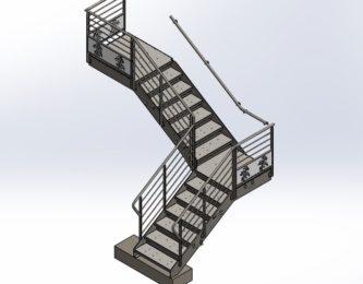 Modélisation 3D d'un escalier décoratif en acier avec des motifs faits à la découpe laser